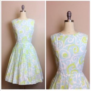 Vintage 1960s Cay Artley Swirl Print Pleated Dress